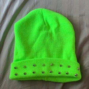 Woven Neon Green Spiked Beanie